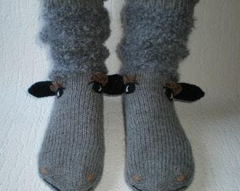 Hand-knitted grey baa-lamb women socks,sheep socks