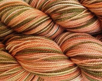 Fingering Weight Hand Painted Merino Wool Sock Yarn in Starfish Bay Orange Salmon Brown