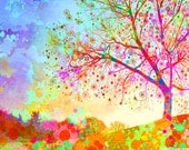 Star tree giclee art print, bright colors, watercolor paint splatters, happy, cheerful, inspirational, modern landscape, 11x14""
