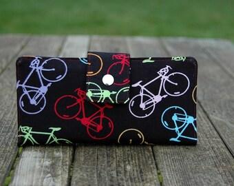 Vegan Wallet handmade multi color bikes on black