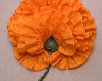 Large Tangerine Orange Poppy Flower Millinery Applique