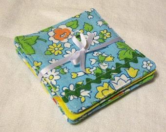 Set of Four  Blue Floral Coasters