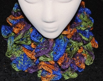 Crochet Sashay Scarf in Purple Blue Green Orange Silver Frilly Handmade Curly Long Frilly Wife Mother Birthday Christmas Valentines Day Gift