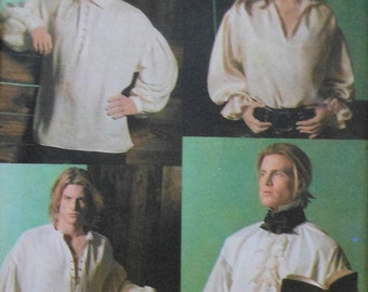 Men's Poet/Pirate Shirt Sewing Pattern UNCUT Simplicity 4219 Peasant Renaissance Puffy Sleeved Sizes SX-XL