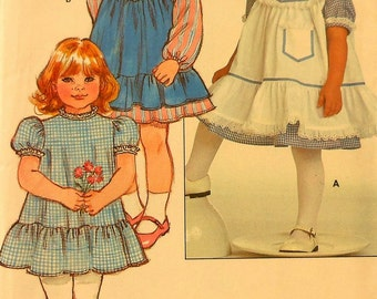 Toddler Pinafore and Dress Sewing Pattern UNCUT Butterick 4830 Sizes 1-4