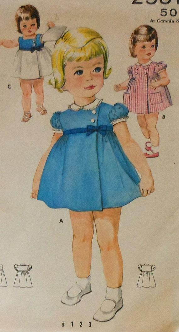 Vintage Toddler Summer Dress Sewing Pattern Butterick 2587
