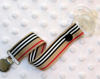 Khaki Black Red Stripes Pacifier Clip Soothie Holder