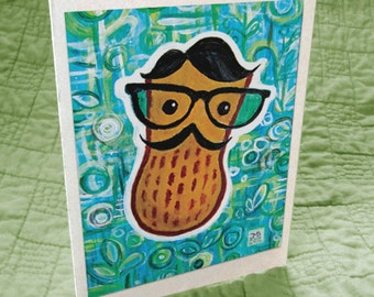 Hipster Peanut Greeting Card