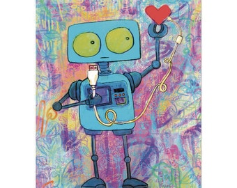 Robot with USB Heart - 8x10 Art Print Wall Hanging