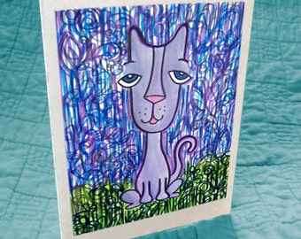 Kitty at Nightfall Greeting Card