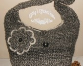 Granite Peak Big & Chunky Hobo Bag - purse, crochet, handbag, tote, tote bag, bag, hobo, big, chunky, flower, black, cream
