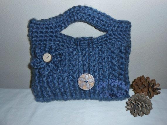 Chunky Crochet Tote Pattern : Chunky Blue Crochet Tote handbag bag tote by kathyskrochetnook
