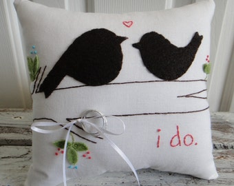 I do. Love Birds Wedding Ring Bearer Pillow in chocolate, coral and turquoise