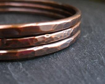 Copper bangles, hammered bracelets, copper wedding anniversary, 7th anniversary gift, ladies bangles, oval shape bangles, round bangles