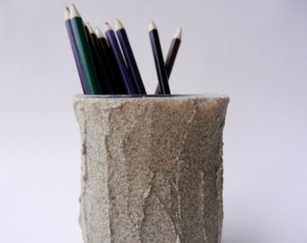 pencil holder made from beach sand / beach office decor / beach decor