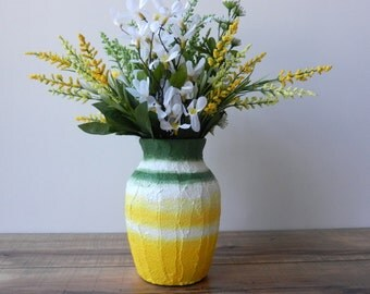 yellow and green vase / Grass and Sky Vase / handcrafted home decor / glass  and concrete handpainted vase / made to order