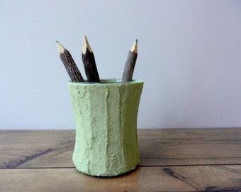 Pencil Holder / apple green pen cup /  Office Decor / green stained concrete
