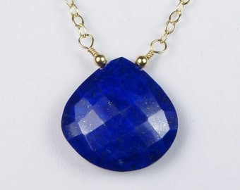 AAA Lapis Necklace, Large AAA Faceted Cobalt Blue, Dark Royal Blue, Natural Color Lapis Pendant with a Gold Chain