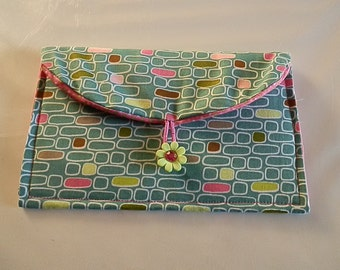 Clutch Purse/Wallet-Brown with Aqua Blue/Pink