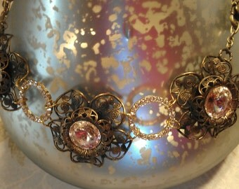 Flower Necklace, Filigree Necklace 8447