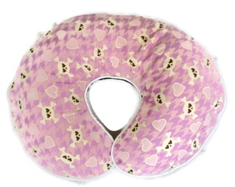 Pink and Lavendar Hearts and Skull and Crossbones Nursing Pillow Cover - fits Boppy pillows