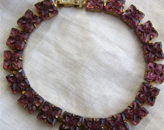 SALE Stunning Vintage Art Deco Molded Purple Czech Glass Bracelet Signed