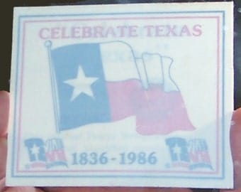 Vintage 1986 Texas Sesquicentennial Self Adhesive Decal, CHEVRON GULF Oil Company, Collectible