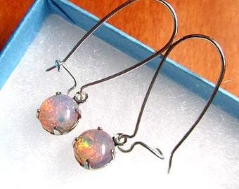 opal silver kidney earring