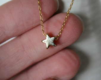 Gold Star Necklace...Small Star Necklace...Tiny Gold Star Necklace minimalist jewelry bridal gift