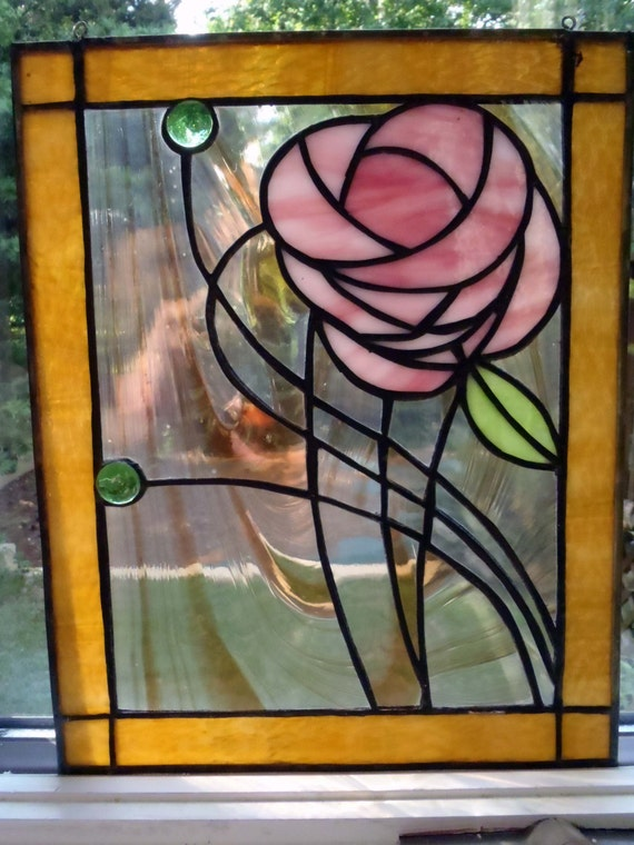 Sale-NO S/H Contemporary stained glass panel with a stunning