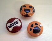 Burned and painted wooden cabinet knob set of 3 - dog, bone, and paw print