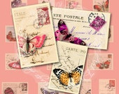 Postcard & Butterfly Postage Stamp sized collage French, Italian, German Digital scan Instant Download for ACEO, hang tags, charms, collage,