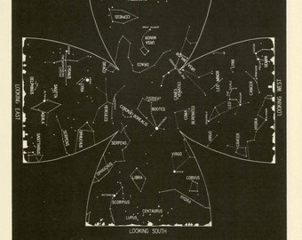 1942 june constellations star map original vintage celestial astronomy print