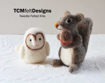 2 Needle Felting Kits, 1 beginner kit and 1 intermediate/advanced squirrel kit