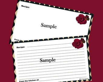 Recipe Cards 3 x 5 Editable and Printable Digital Instant Download for Parisian Cafe Recipe Box