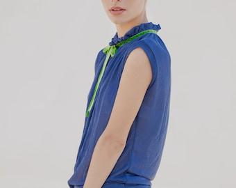 blue shirt - womens sleeveless shirt - sexy shirt - cotton blouse - loose top - sexy tops - sleeveless top - cotton tops - NRIBBON