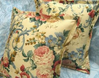 "CABBAGE ROSE Pair Custom Made Pillow Shams  - Ralph Lauren Fabric - 16"" x 16"" Square"