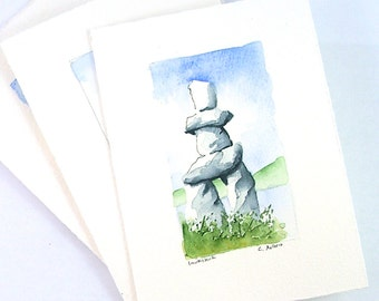 Landscape Watercolor Inukshuk Original Fine Art Card