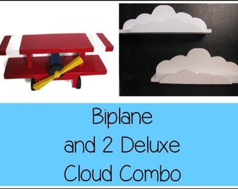 BIPLANE & 2 CLOUD SHELVES Package - Children's Decor, Aviation Theme, Airplane, Unique