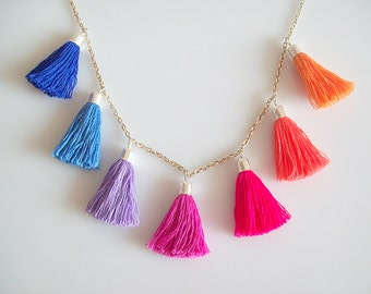 Bright Multicolour Tassel Necklace