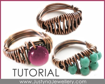 Beaded Ring Tutorial, Wirework Ring Tutorial, Bague Ring Tutorial, Wire Ring Pattern, Wire Ring Instructions, Wirewrapping Tutorial
