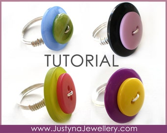 Button Ring Tutorial, Button Jewelry Tutorial, Wire Wrapping Tutorial, How To Make Button Rings, Buttons Jewellery Pattern, Button Pattern