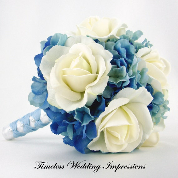 Blue Hydrangea Wedding Flowers: Items Similar To Blue Wedding Bouquet Roses Hydrangeas