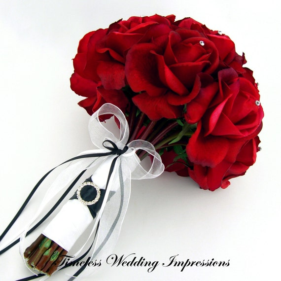 Items similar to red rose bridal bouquet swarovski wedding real touch flowers - Bouquet de rose artificielle ...