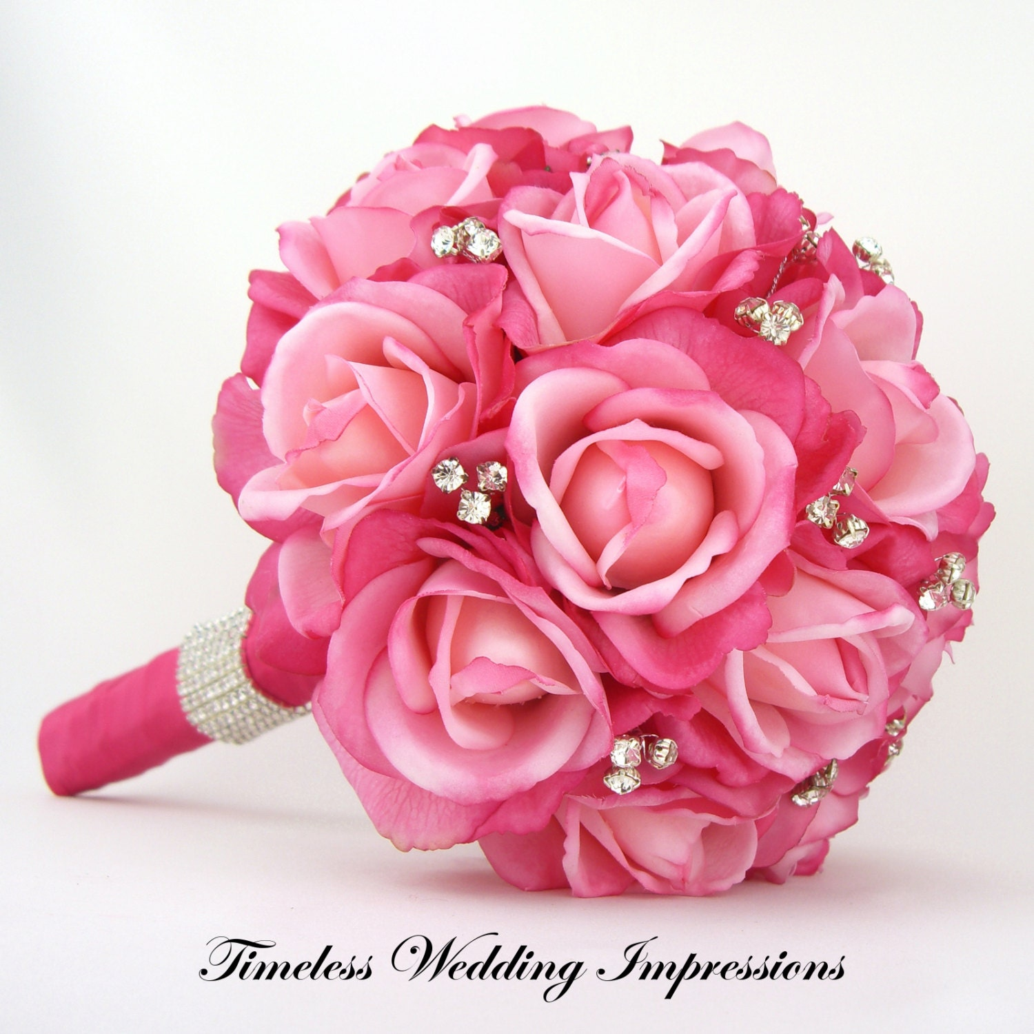 Bridal Flowers With Bling : Hot pink bridal bouquet roses bling crystals by
