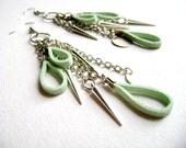 Bohemian style mint earrings - Delightful - boho style faux soft mint leather and silver spike fringe feminine earrings