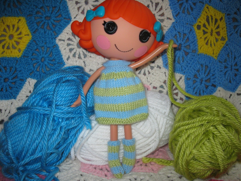 Knitting Pattern Doll Socks : Knitting Pattern for Lalaloopsy Doll Clothes Striped Dress ...