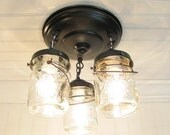 Mason Jar Ceiling Lighting Fixture - Vintage Pint Trio