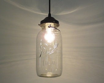 Mason Jar PENDANT Lighting Fixture -  Half Gallon - Farmhouse Flush Mount Chandelier Rustic Cabin Kitchen Island Ceiling Lamp by LampGoods