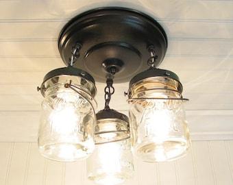 Mason Jar Ceiling Lighting Fixture - Vintage Pint Trio
